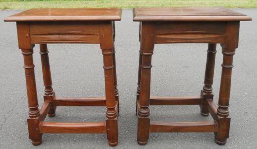 Pair Yew Joint Stools